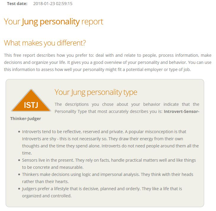 Jung Personality Report for Floyd Kelly