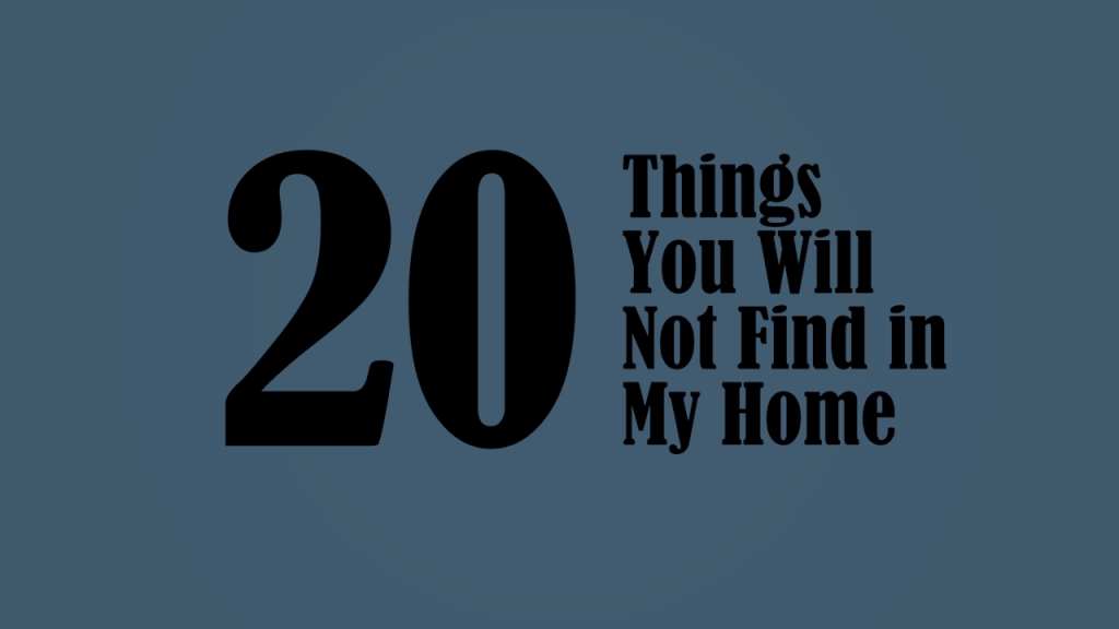 """A graphic showing the text """"20 Things You Will Not Find in My Home""""."""