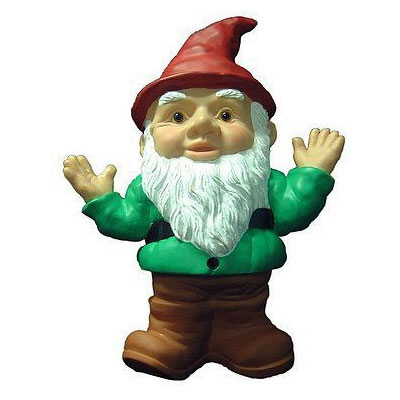 A colored clipart of a gnome wearing a red hat and a green shirt.