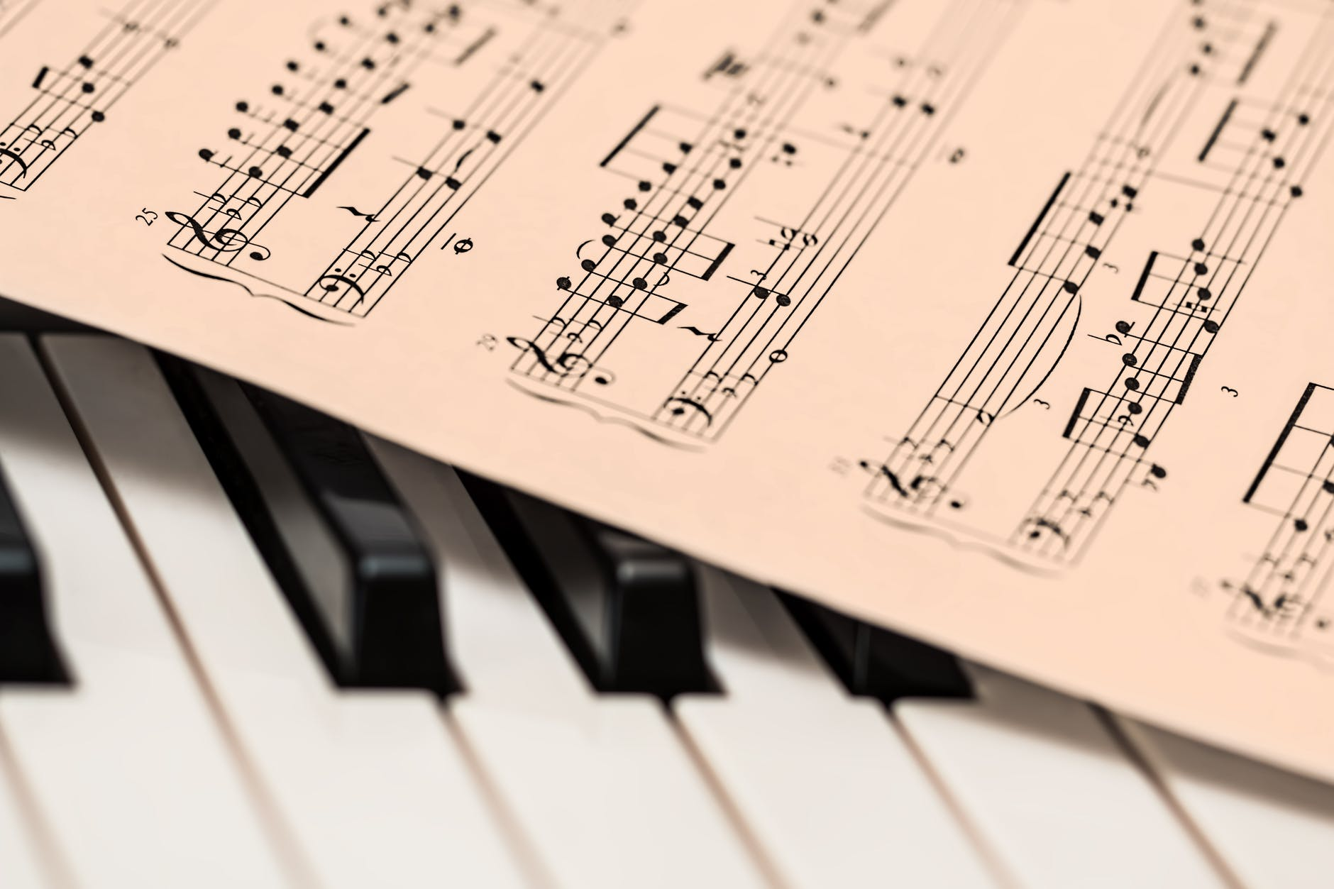 A photo of a page of sheet music lying on top of piano keys.