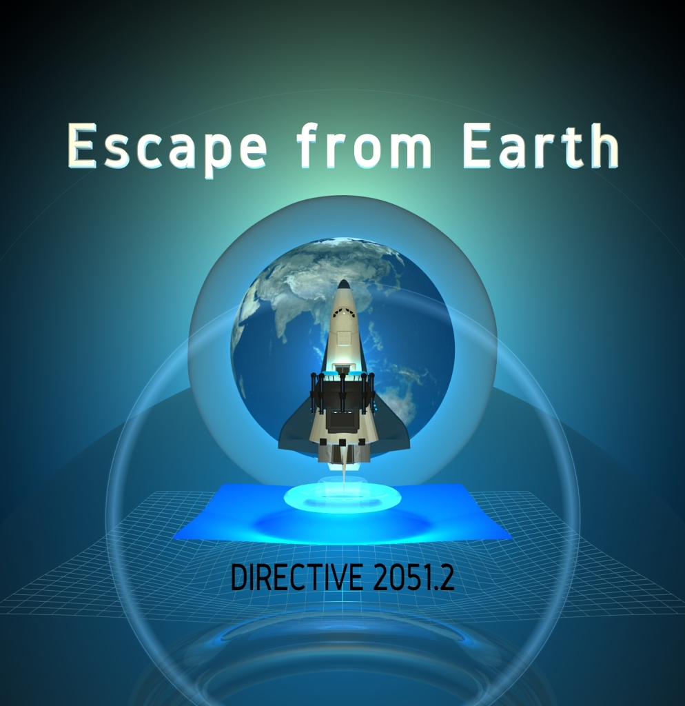 Title Page illustration of Escape from Earth featuring a modified space shuttle hovering planet Earth.